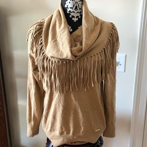 NWT Michael Kors cow neck fringe sweater top L